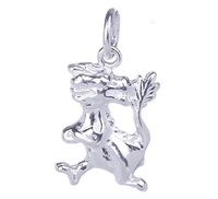 5pcs /bag Free Shipping 16*12mm 925 Sterling Silver Standing Dragon Bite Tail Jewelry Charms Pendant SA319