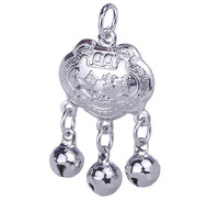 2pcs /bag Free Shipping 20*14mm 925 Sterling Silver Longevity Lock with Three Blells Jewelry Charms Pendant SA295