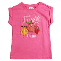 Girls cute short sleeve T-shirt with printing and sequinK1698#