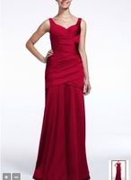 Free Shipping Custom Made Long Sleeveless Stretch Satin Dress Style F15652 Evening/Homecoming/Prom Dresses In Stock
