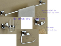 2014 Rushed Banheiro free Shipping Brass Chrome Plated Square Bathroom Set Single Towel Bar Cloth Hook Ring Cup Holder 4pcs/set