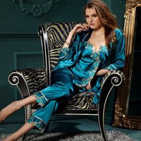 new 2014 sleepwear women sexy silk pajamas silk Spring Temptation silk robes women suspender pants three-piece fitted tracksuit