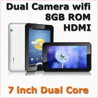DHL Free Shipping,7 inch Dual core allwinner A23 dual camera Android 4.2 tablet pc capacitive screen hdmi wifi OTG