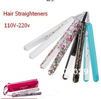 Free shipping 2014 New  Printing Hair Straighteners Ceramic Electronic 110V- 220  corrugated Iron  with Retailed Box