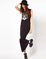 2014 OL/Ladies european style cat print sleeveless dress women plus size cotton spring summer party club dress black elegant