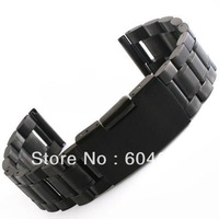 New 1Pcs Black/Silver Bracelet Straight End 18 20 22 mm Stainless Steel Solid Links Watch Band Strap Watchbands Free Shipping