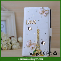 Luxury Eiffel Tower Flower Diamond Bling Crystal Pearl Stand Leather Credit Card Holder Case Cover For Samsung Galaxy Note 3