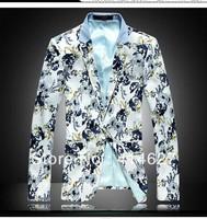 2013 New Fashion Men's Big Size Blazer ,Free Shipping Autumn Male Slim Flower Suit suits for men M L XL XXL 3XL 4XL 5XL 6XL