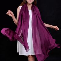 Mulberry silk soft skin-friendly women's 200 140cm fashion solid color silk scarf silk scarf dual