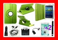 7 in 1 Flip Leather Cover Case For Samsung Galaxy Tab 2 7.0 P3100 P3110+USB Cable+Car Charger+2Protector+1 Stylush Free Shipping
