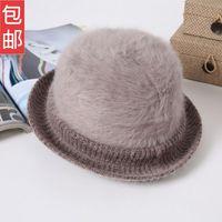 Autumn and winter women's rabbit fur wool dome fedoras vintage winter warm hat