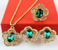 Free Shipping Green Austrian Crystal Jewelry Set 18K Gold Plated Necklace+Earrings+Ring Plum Blossom Design 2sets/lot GJS121