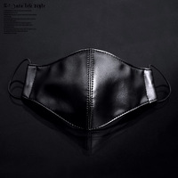 Hot-selling Fashion Black Genuine Leather Mask Personalized Punk Ride three-dimensional protective masks