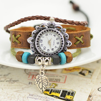 2014 Fashion Women Genuine Leather Watches Leaf Pendant Bracelet Watches Free Shipping