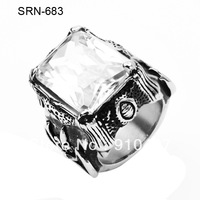 Free Shipping 5pcs/lot (mixed order)  Men's Crystal Fleur De Lis Engraved 316L Stainless Steel Punk Cocktail Party Finger Ring