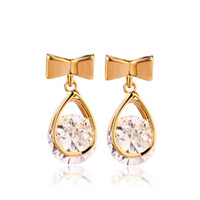 Gold-Plating Delicate Bowknot Inlay Oval Rhinestone Earrings Water Droplets Stud Earrings High Quality