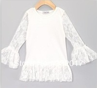 Fashion Baby Girls  t-shirt &Children solid white Tee with lace  long sleeves& kids wear cotton shirt&toddler tops size S M L XL