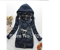 2014 Winter Women Coat Denim Long Thick Sleeve Cotton Jeans Warm Overcoat Woman Free Shipping