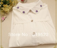 peter pan collar  cotton white blouse shirt  girl students  flower purple  embroidery  shirt 2014