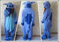 2014 hot sale New Japan Adult Animal Blue Stitch Lovely Fleece Full Sleeves Hooded Lady Nightwear
