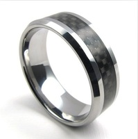 2014 Hot New wholesale popular tungsten steel Carbon fiber inlay Rings for people, fashion Jewelry,free shipping