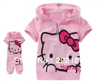 2014 summer baby girls hello kitty KT cat clothing suits kids short sleeved hooded set cheap top+pant Wholesale