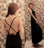 2014 sexy full dress big racerback placketing sweep long design evening dress one-piece dress