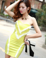 Autumn new arrival 2013 faux leather basic one-piece dress tube top dress sexy slim hip slim all-match skirt
