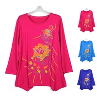 Wholesale And Retail Womens Flowers Graphic Print Loose T-shirts Tops Oversized Tee Blouse Free Shipping
