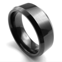 2014 Hot New wholesale popular tungsten steel black Rings for people, fashion Jewelry,free shipping