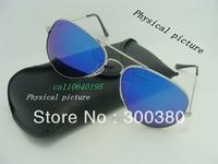 Free shipping 2013 Hot !   Name Brand Reflective Sunglasses Unisex Retro for Women Gold metal Rim Glasses Sports for Men 3025