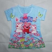 summer baby girls coke cartoon boy clothes unisex children short sleeve the mountain 3d peppa pig t-shirt kids blouse outerwear