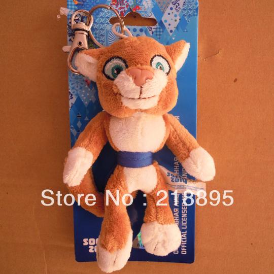 Freeshipping leopardo brinquedo boneca de pelúcia macia mascote souvenir jogos olímpicos de inverno de sochi rússia 2014; pp algodão 13.5*10.5*3.5cm