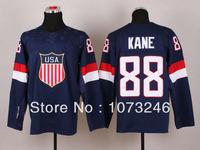 Hot Sale Men's 2014 Sochi Olympic Patrick Kane USA Jersey #88 Team Ice Hockey Blue 100% Polyester For Sport Fans Best Quality