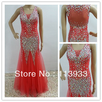 2014 Actual Real Sample Sexy New Arrival Luxury Beaded With Crystal Transparent Mermaid Long Evening Prom Dress Gown Custom Made