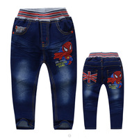 retail clearance low cost  cartoon spider-man jeans boy jeans children cow boy trousers Spiderman jean pants  in stock