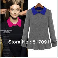 European Style 2014 Women New Long Sleeve Fashion Pullovers Spring Knitwear Ruffles Sweater Free Shipping