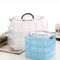 JJJ-SN0001Creative Three Removable Transparent Plastic Storage Box Jewelry Box Small Objects Debris