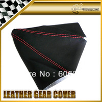 Universal Fit Blacnk No Logo Gear Shift Knob Cover PU Leather Gaiter Sleeve Glove Collars Red Stitch