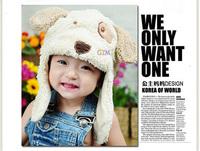 Hot Sale,Retain,1pcs!Ear Protector Cap Cartoon Puppy Dog Bear Baby Hat Winter Beanie Children hats Cute Kids Wool Cap