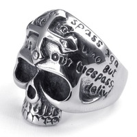 2014 Hot New wholesale popular 316L stainless steel punk skull Rings for people, fashion Jewelry,free shipping