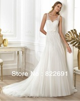 Custom Sexy V Neck Beading Bodice Bow Tie Ribbon Tulle A Line Wedding Dress With Court Train RW03