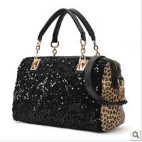 suitcase 2012 fashion black paillette leopard print  shoulder  handbag messenger  winter women's handbag   gym totes vintage