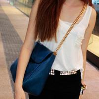purse women 2012 women's handbag navy blue female one shoulder chain fashion vintage buns messenger  female bags  shoulder bags