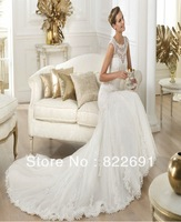 Custom elegant sleeveless high quality lace appliqued tulle mermaid Wedding Dress With Court Train RW04