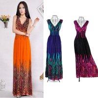 2014 Casual   Summer Deep V-Neck Peacock Bohemia Long Beach Dress Sexy  Maxi Dresses Free Shipping 11100 Vestidos Longo