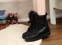 Winter fashion vintage thermal platform all-match rivet nude color platform elevator lacing boots