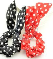 cute rabbit ear dots Rope Elastic Hair Ties Bands Headband Strap Girl's lady multi color option  CN post