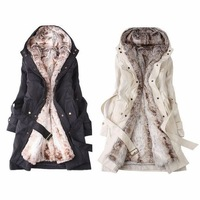 Cicada 2013 winter female thickening cotton-padded jacket slim outerwear long design plus size trench overcoat