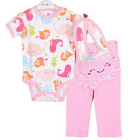 3sets/lot ,2014New Baby Girls Set, Lovely Animal Model (Bib+ Short Sleeve Jumpsuit+Pants) 3pcs Set,Free Shipping(In Stock)